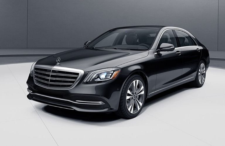 Black 2020 Mercedes-Benz S-Class close up of exterior front drivers side