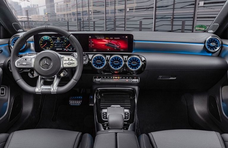 Front dash in cabin of 2020 Mercedes-Benz AMG A 35 Sedan