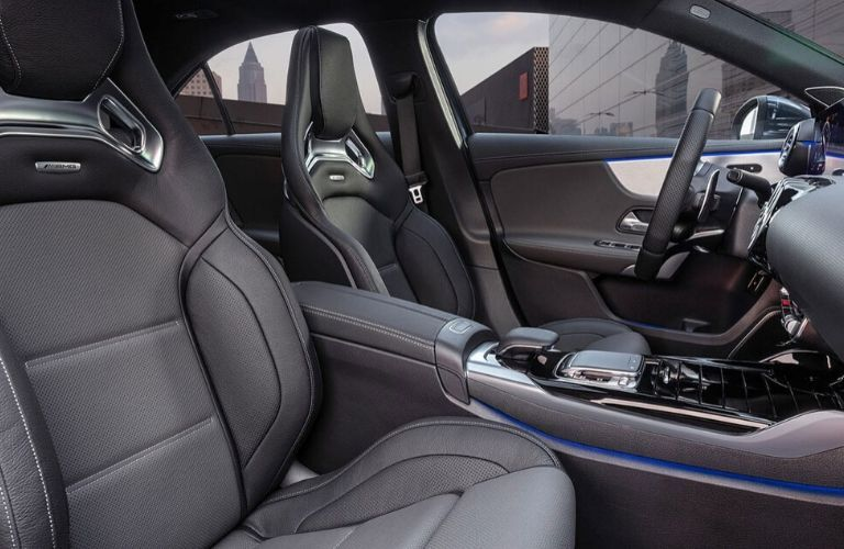 Front seats in 2020 Mercedes-Benz AMG A 35 sedan