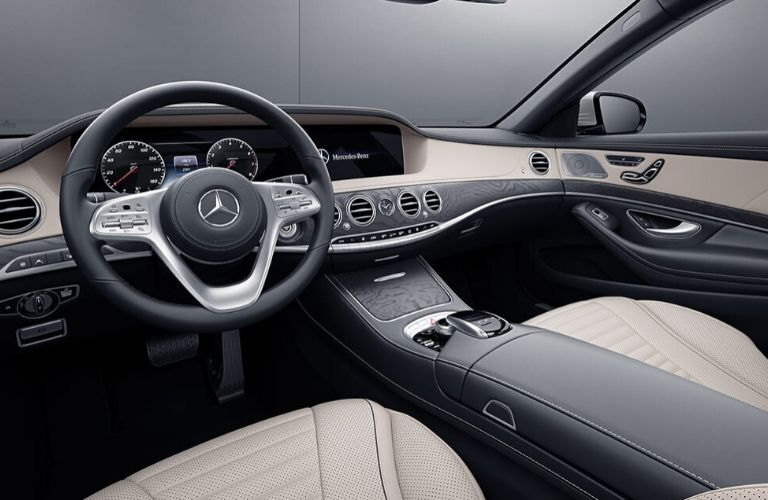 Interior front seats and dash of 2020 Mercedes-Benz S-Class