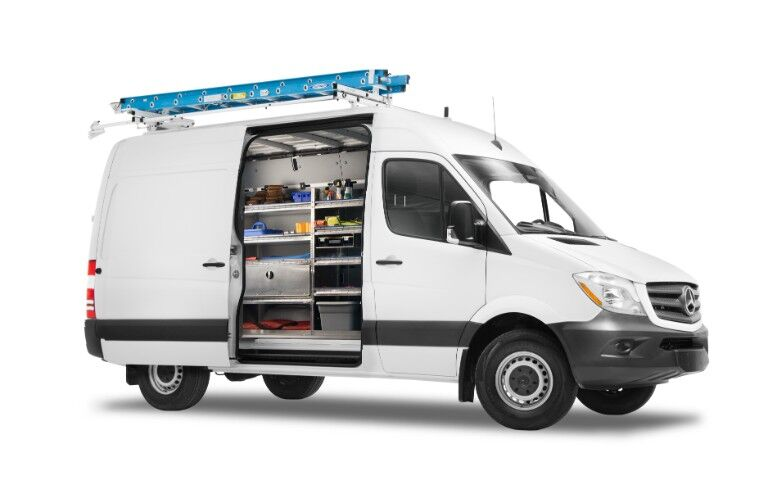 Mercedes-Benz Sprinter Cargo Van with ladder and equipment