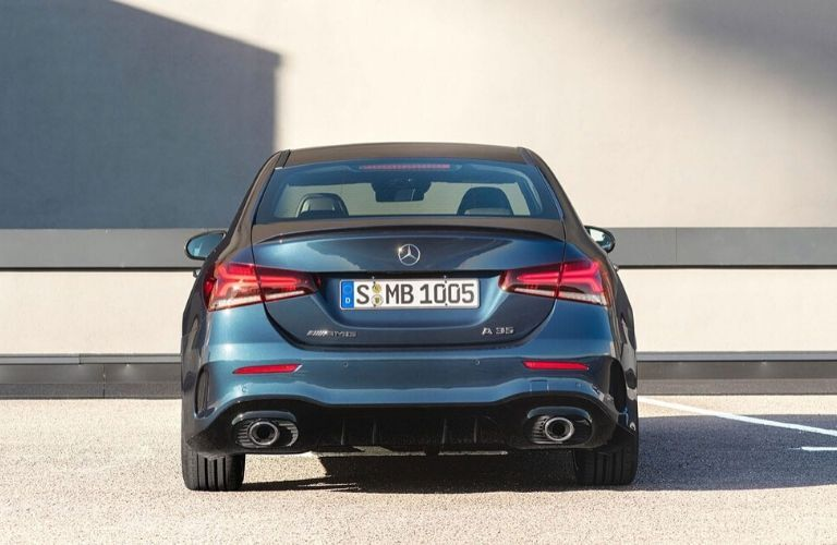 Rear of 2020 Mercedes-Benz AMG A 35 Sedan