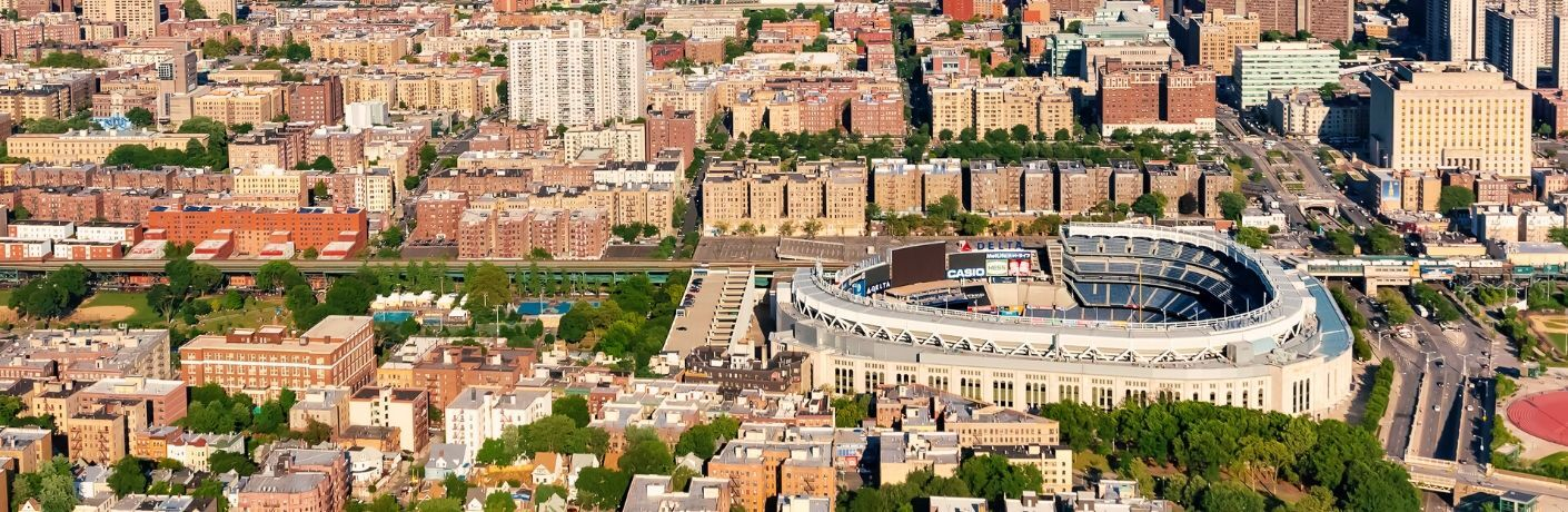 View of Yankee Stadium and the Bronx from above