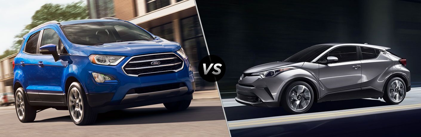 Blue 2018 Ford EcoSport, VS Icon, and Grey 2018 Toyota C-HR