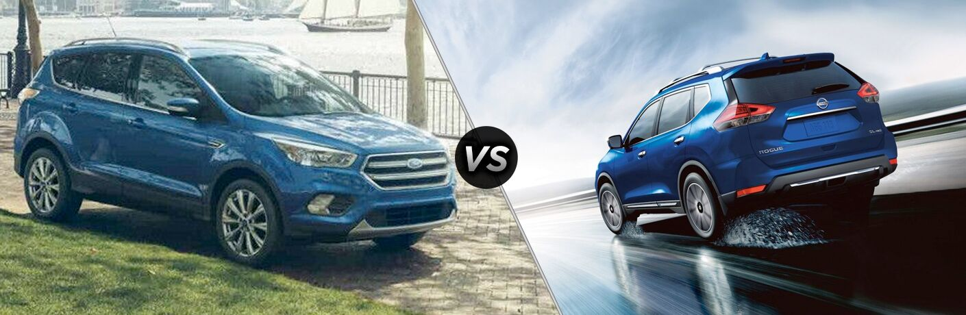 Blue 2018 Ford Escape, VS Icon, and Blue 2018 Nissan Rogue