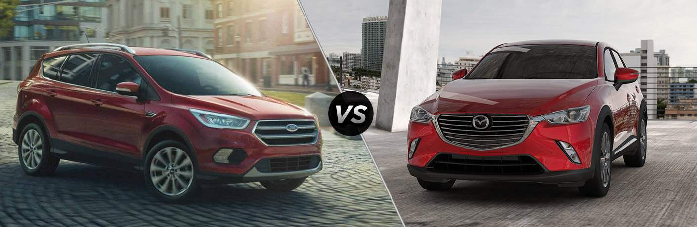 Red 2018 Ford Escape, VS Icon, and Red 2018 Mazda CX-3