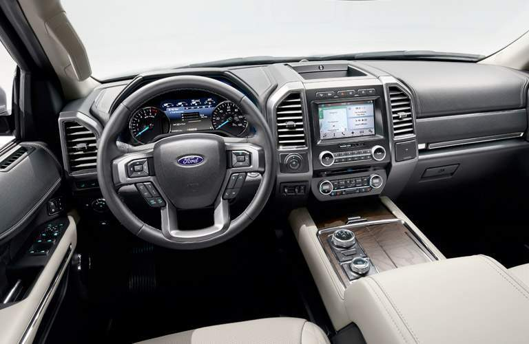 Dashboard and Front White Seats of 2018 Ford Expedition