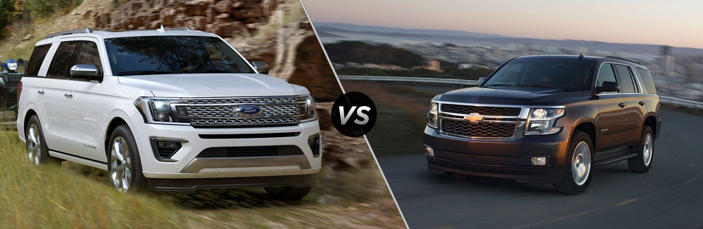 White 2018 Ford Expedition, VS Icon, and Brown 2018 Chevrolet Tahoe