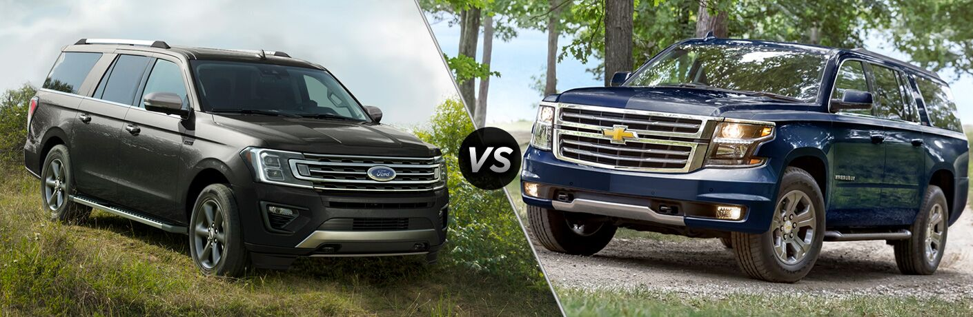 Dark Grey 2018 Ford Expedition, VS Icon, and Blue 2018 Chevrolet Suburban