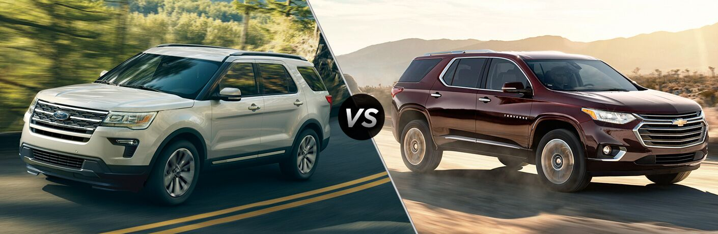 White 2018 Ford Explorer, VS Icon, and Maroon 2018 Chevrolet Traverse