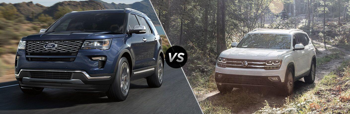 Blue 2018 Ford Explorer, VS Icon, and White 2018 Volkswagen Atlas