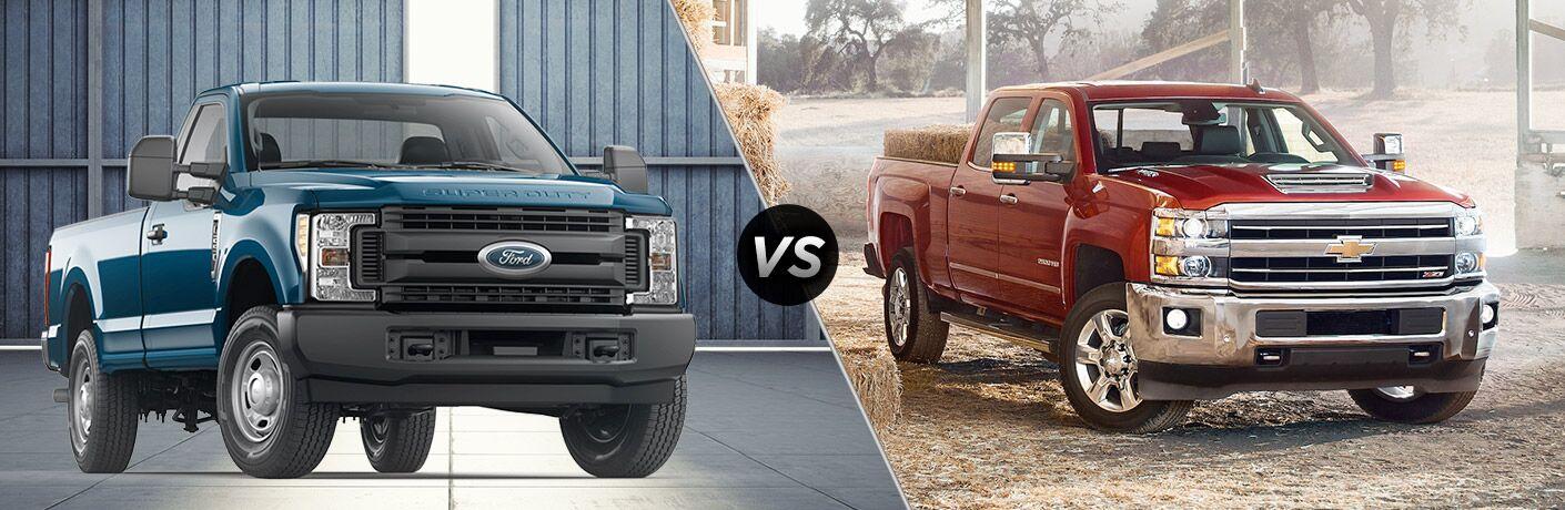 Blue 2018 Ford F-250 Super Duty, VS Icon, and Red 2018 Chevrolet Silverado 2500