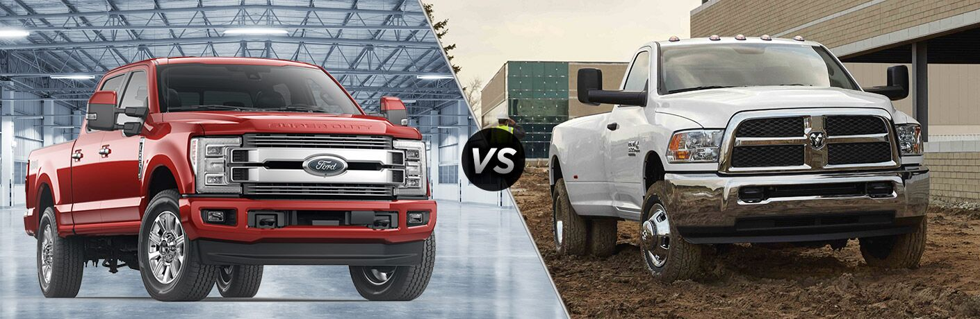 Red 2018 Ford F-250 Super Duty, VS Icon, and White 2018 Ram 2500