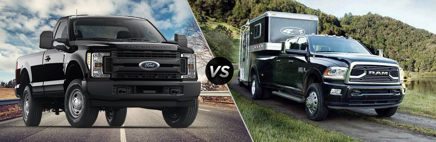 Black 2018 Ford F-350 Super Duty, VS Icon, and Black 2018 Ram 3500