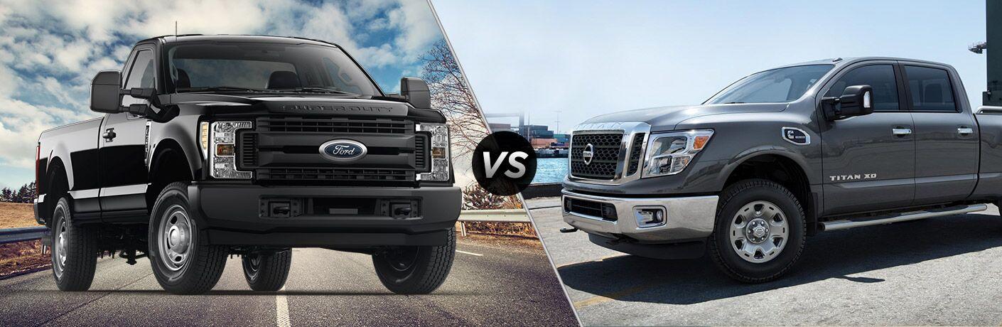 Black 2018 Ford F-350 Super Duty, VS Icon, and Grey 2018 Nissan Titan XD