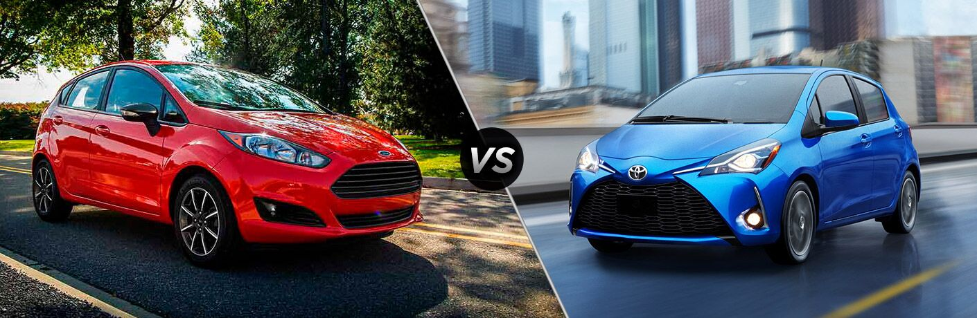 Red 2018 Ford Fiesta, VS Icon, and Blue 2018 Toyota Yaris