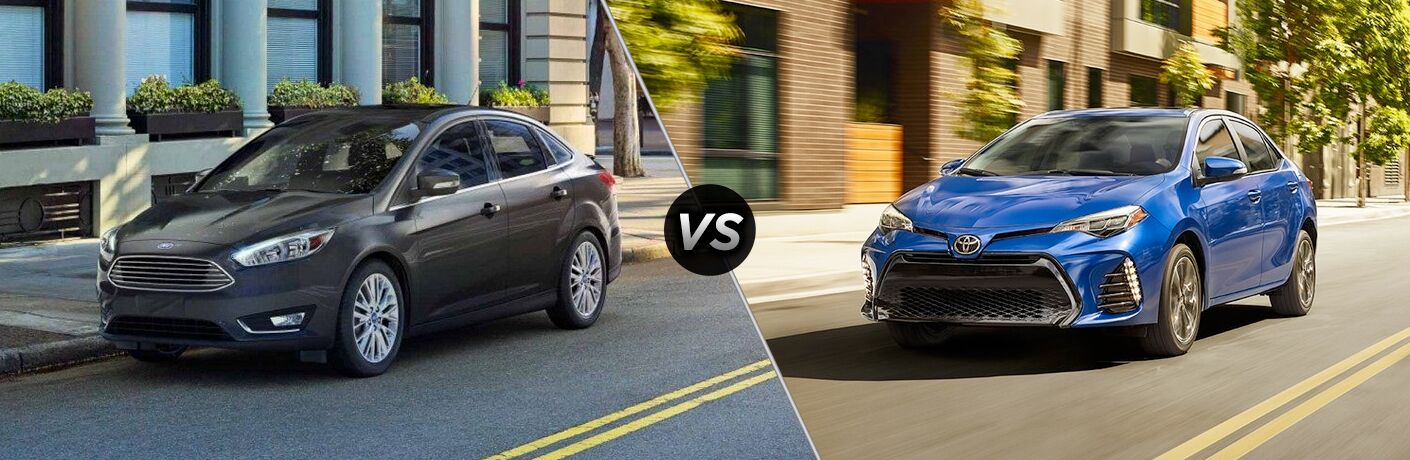 Black 2018 Ford Focus, VS Icon, and Blue 2018 Toyota Corolla