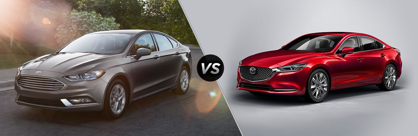 Grey 2018 Ford Fusion, VS Icon, and Red 2018 Mazda6