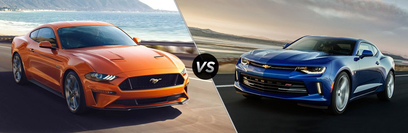 Orange 2018 Ford Mustang, VS Icon, and Blue 2018 Chevrolet Camero