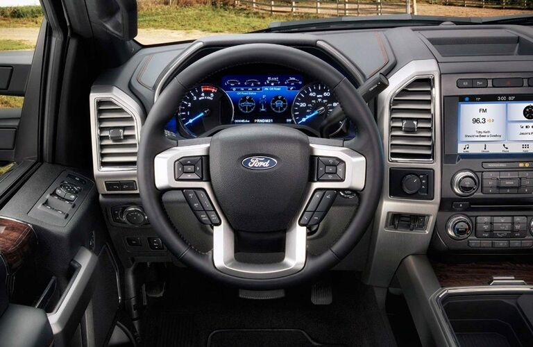 Steering Wheel, Touchscreen, and Gauges of 2018 Ford F-250 Super Duty