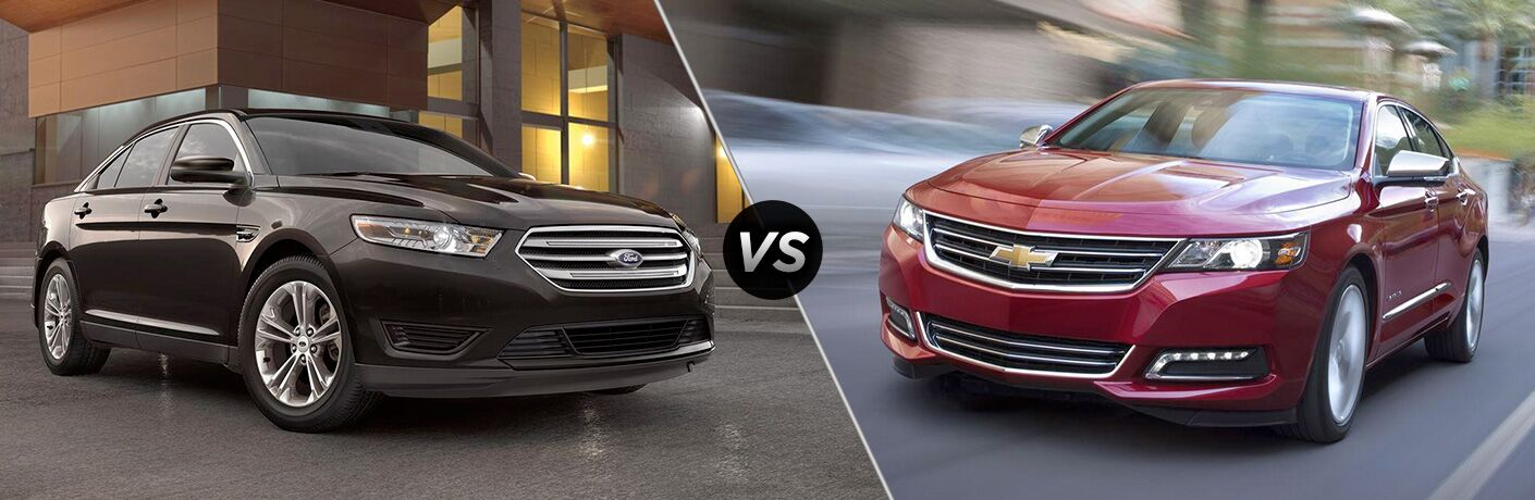 Black 2018 Ford Taurus, VS Icon, and Red 2018 Chevrolet Impala