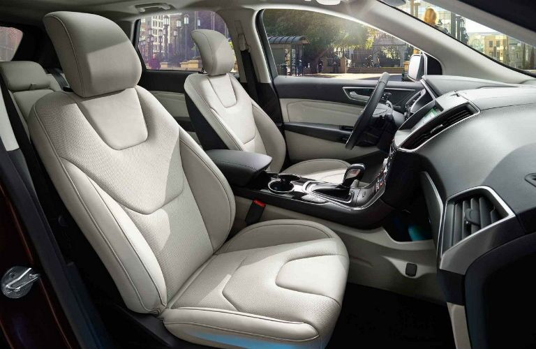 Dashboard and White Seats of 2018 Ford Edge