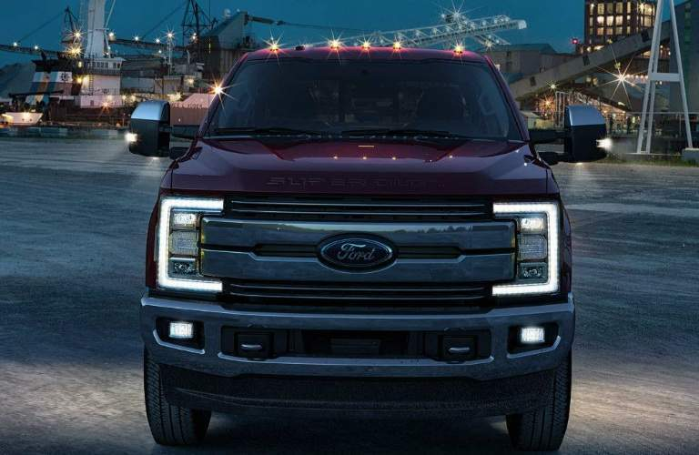 Front View of Maroon 2018 Ford F-350 Super Duty