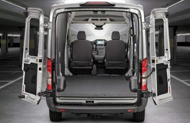 Cargo Area of White 2018 Ford Transit Cargo Van