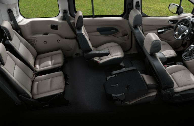 2018 Ford Transit Connect Passenger Wagon Steering Wheel and Beige Seats
