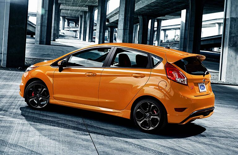 Rear View of orange 2019 Ford Fiesta