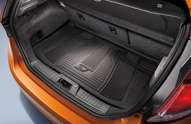 Cargo area of orange 2019 Ford Fiesta