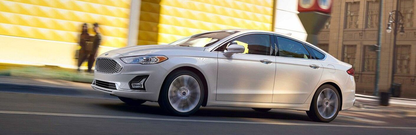 2019 Ford Fusion driving downtown