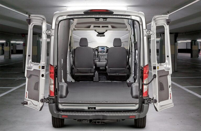Cargo Area of white 2019 Ford Transit Cargo Van