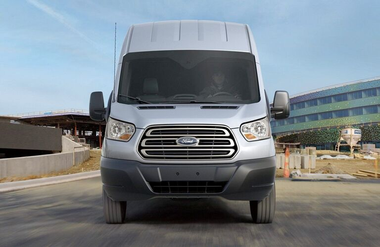 Front view of silver 2019 Ford Transit Cargo Van