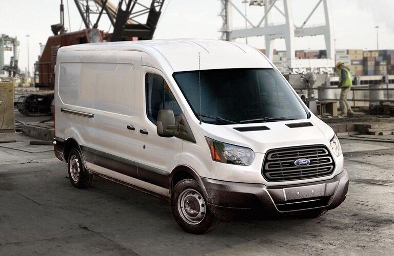 Front view of white 2019 Ford Transit Cargo Van