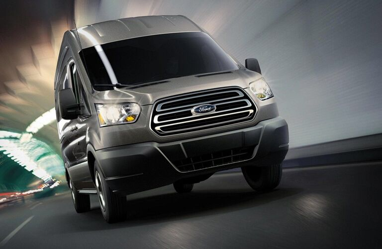 Front view of grey 2019 Ford Transit Passenger Van