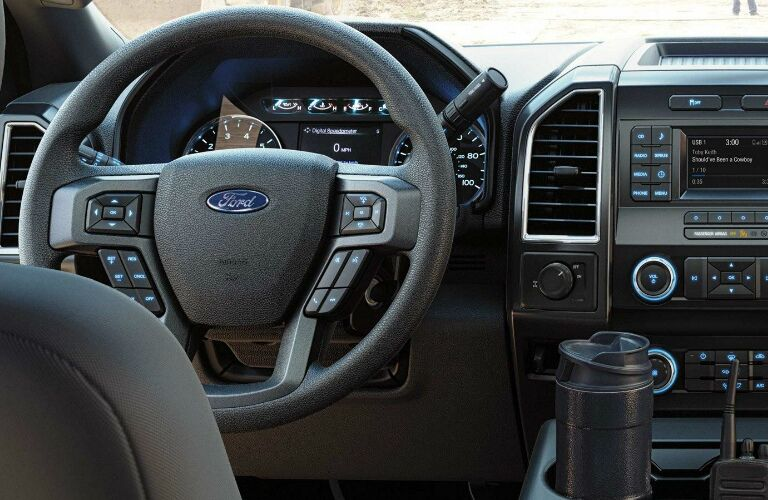 Steering wheel, gauges, and touchscreen in 2019 Ford F-Series Super Duty Chassis Cab