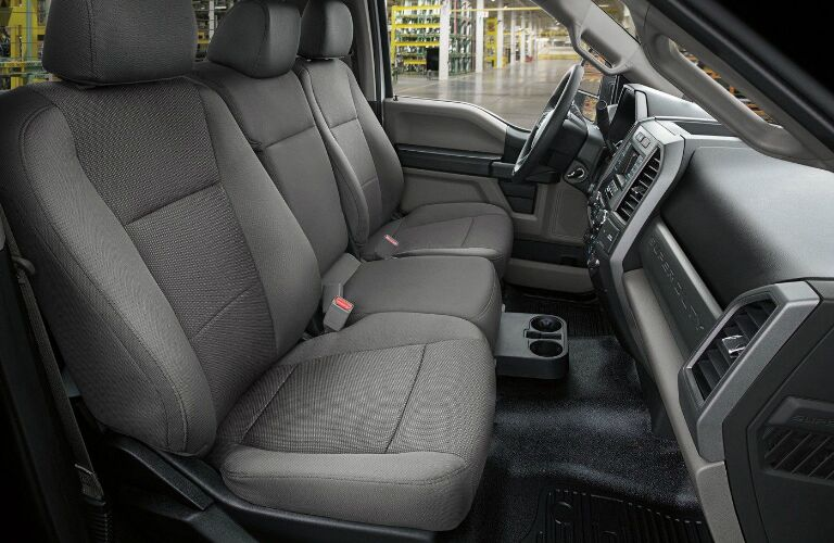 Dashboard and front grey seats in 2019 Ford F-Series Super Duty Chassis Cab