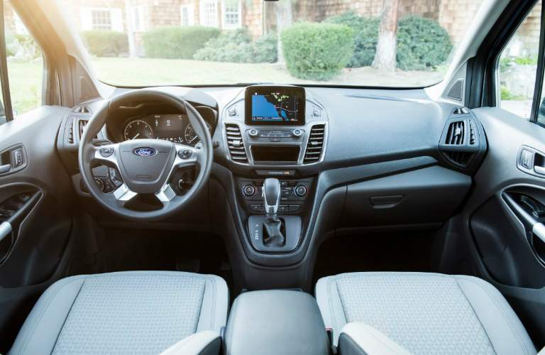 Dashboard and Grey Front Seats of 2019 Ford Transit Connect Wagon