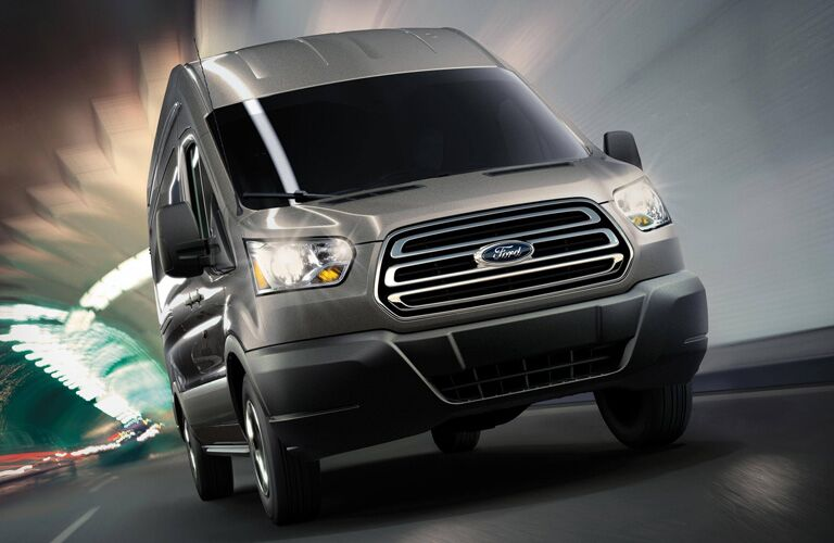2020 Ford Transit Connect driving through a tunnel