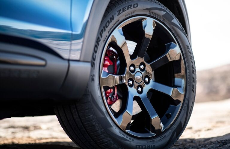 Wheel on blue 2020 Ford Explorer