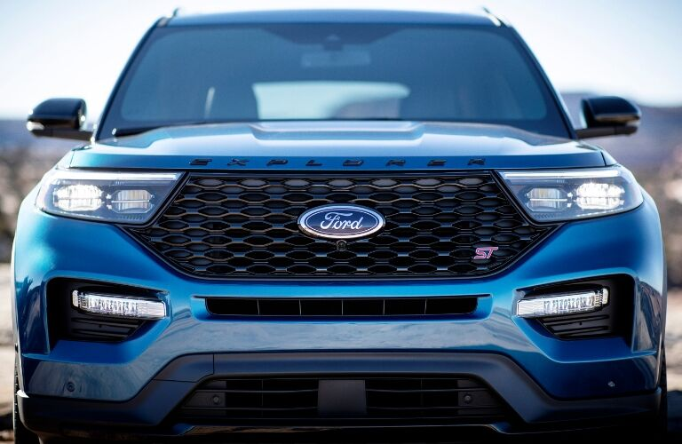 Front view of blue 2020 Ford Explorer