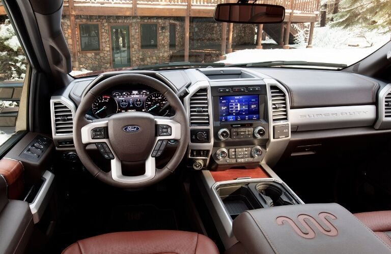 Dashboard and brown front seats in 2020 Ford F-Series Super Duty