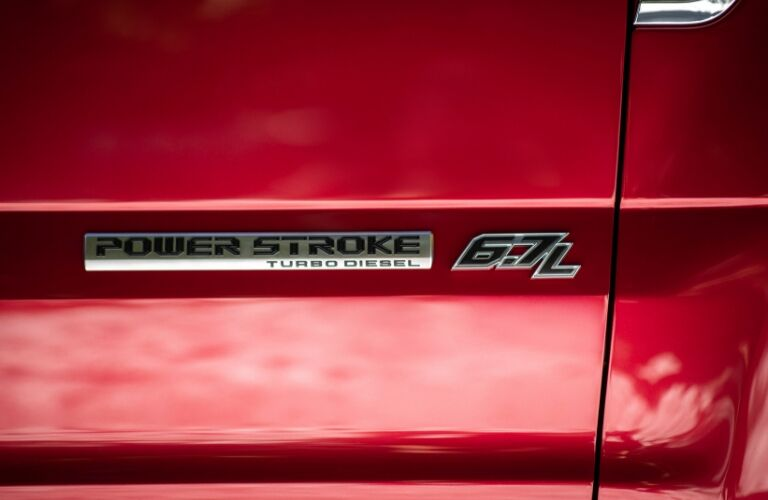 Badge on red 2020 Ford F-Series Super Duty