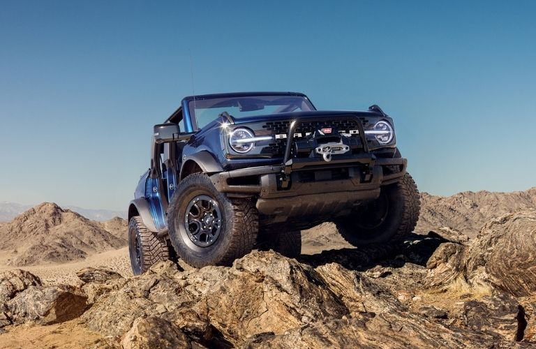 2021 Ford Bronco parked on rocks