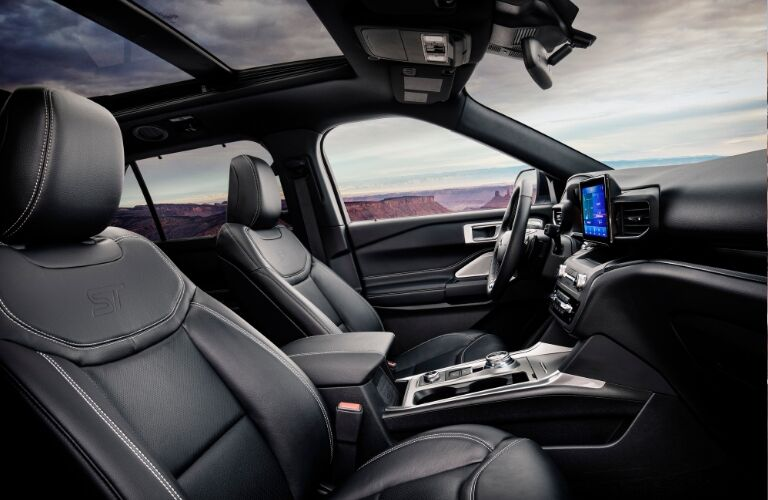 Dashboard and black front seats in 2020 Ford Explorer
