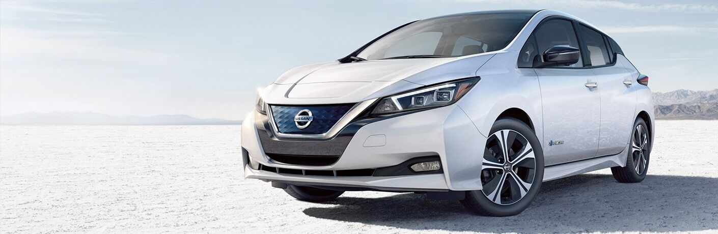 2019 Nissan LEAF parked showing front and side profile