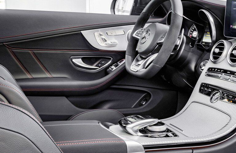 View of the 2017 Mercedes-Benz C-Class' steering wheel from the passenger's side