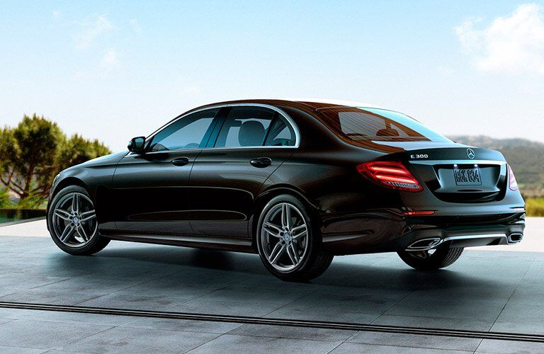 Black 2017 Mercedes-Benz E300 Rear and Side Exterior