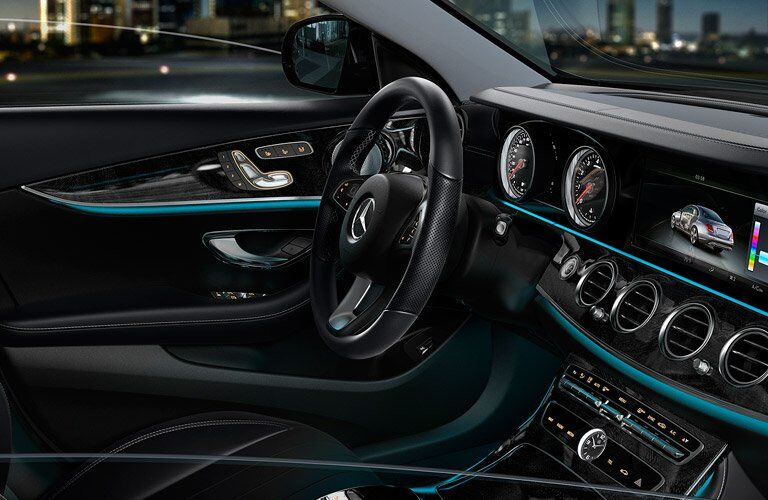 Black 2017 Mercedes-Benz E-Class Front Seat Interior at Night